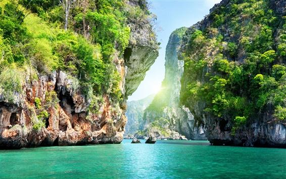 Fond d'écran Canyon de montagne et d'eau paysages