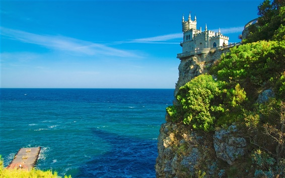 Wallpaper Castle on the sea cliff