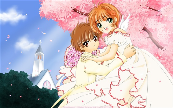 Обои Вишневое дерево молодых любителей анимации