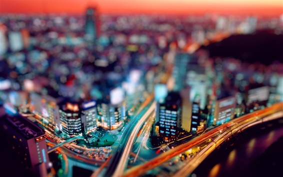 Wallpaper City night tilt shift photography