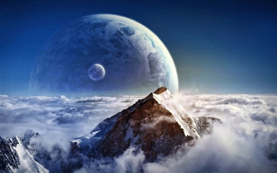 Wallpaper Dream clouds on the mountain and the planet