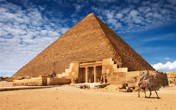 Wallpaper Egyptian pyramids construction landscape