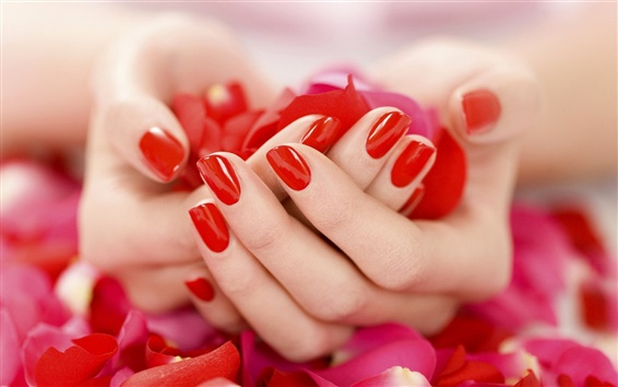 Wallpaper Hands holding red petals