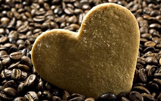 Wallpaper Heart-shaped biscuit with coffee