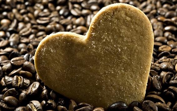Fondos de pantalla En forma de corazón de galletas con café