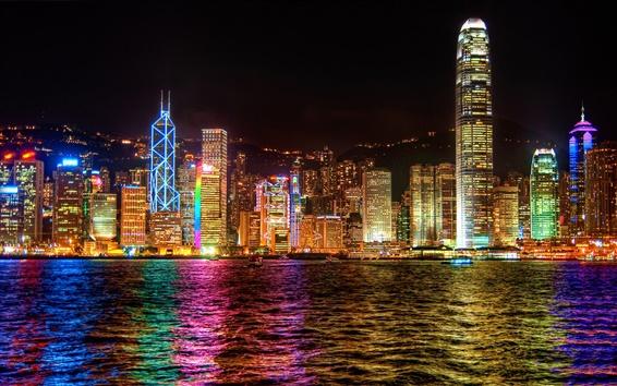 Wallpaper Hong Kong city lights at night