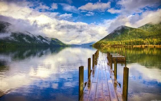 Wallpaper Lake mountain quay