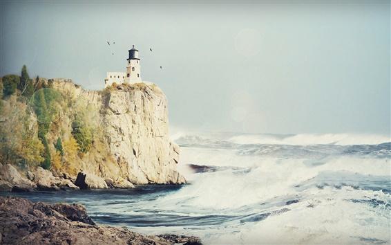 壁紙 灯台海岸海の波
