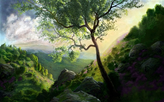 Wallpaper Mountain tree painting