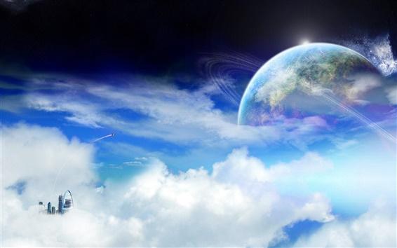 Обои Планета кольцо облаков