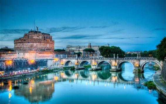 Papéis de Parede Roma, Itália Rio Tibre e Castel Sant'Angelo
