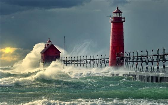 壁紙 海の波桟橋灯台
