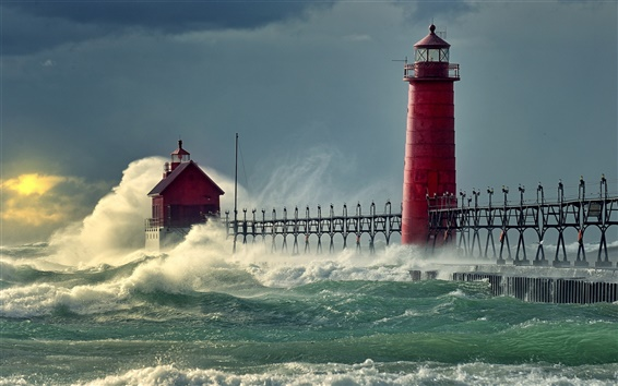 Wallpaper Sea waves pier lighthouse