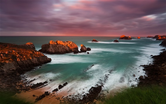 Wallpaper Spain Cantabria sunset