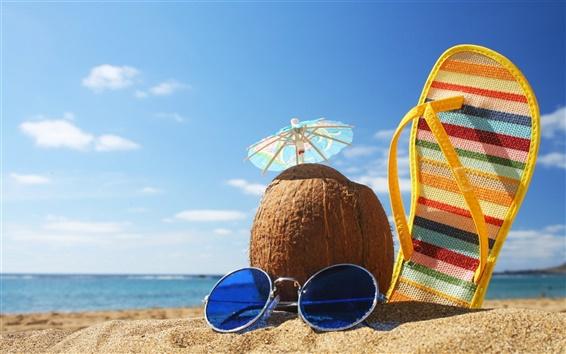 Papéis de Parede Verão férias na praia de coco