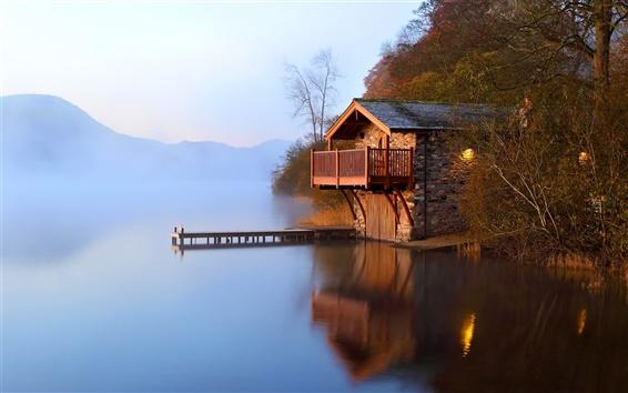 배경 화면 호수 집