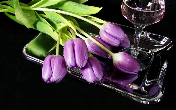 Wallpaper Tulips flowers wine glass tray