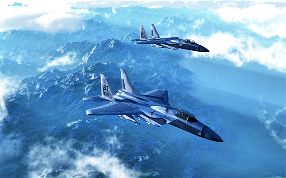 Wallpaper Two fighter jets flying in the mountains