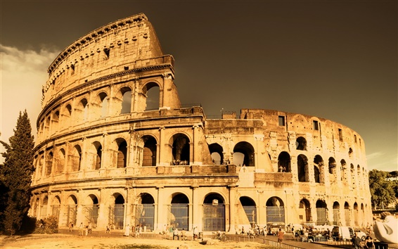 Wallpaper Architectural landscape of the Roman Colosseum