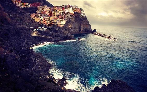 Papéis de Parede Paisagem bonita de Manarola Itália costa marítima