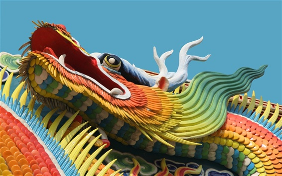 Wallpaper Chinese dragon building