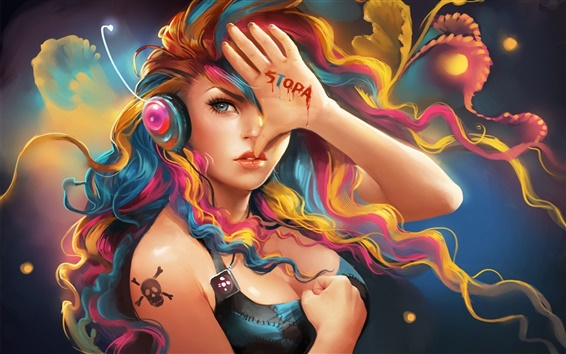 Wallpaper Colorful hair fantasy girl listening to music