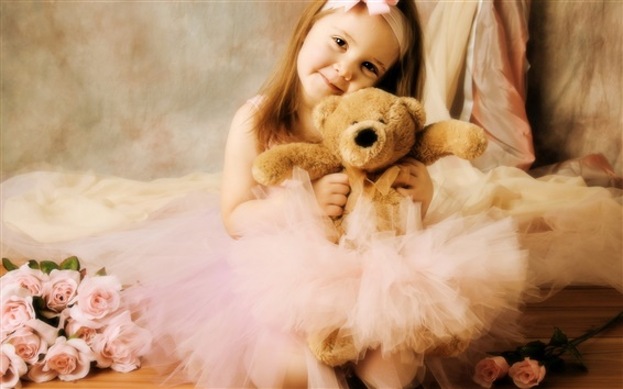 Wallpaper Cute girl with toy bear