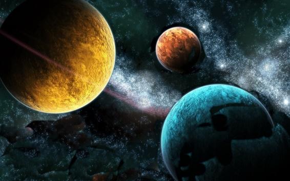Обои Разные цвета из трех планет