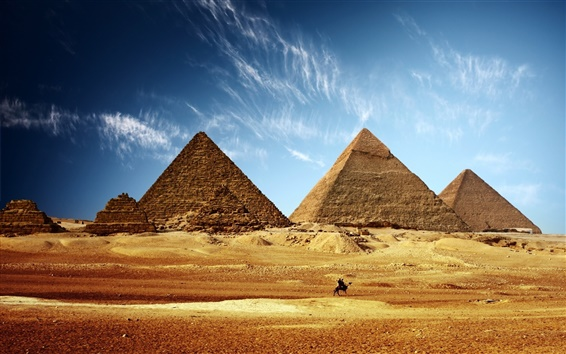 Wallpaper Egypt pyramid golden sand blue sky