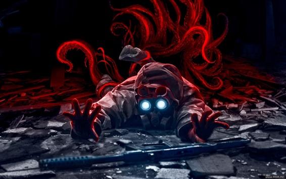 Wallpaper Fantasy art gas mask man