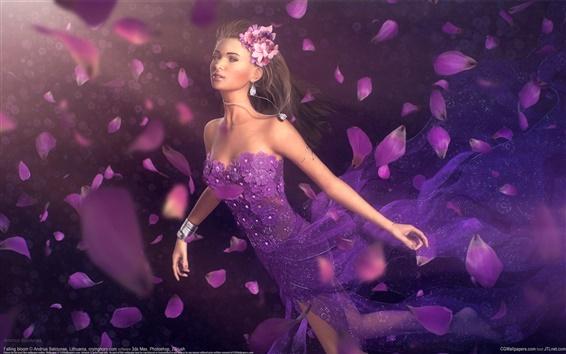 배경 화면 판타지 소녀 자주색 꽃잎
