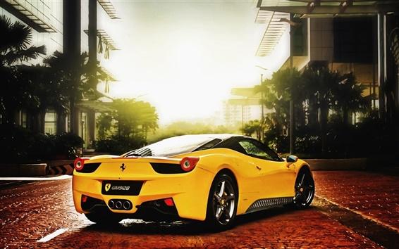 Fondos de pantalla Ferrari coches de color amarillo