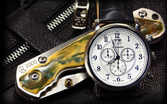 Wallpaper Folding knife and swiss watches