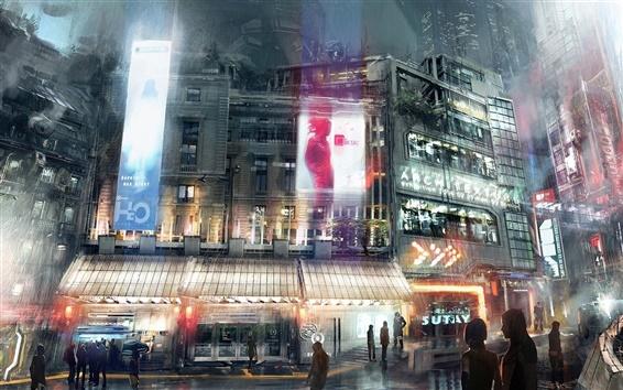 Fond d'écran Ville de nuit avenir de la fiction d'art