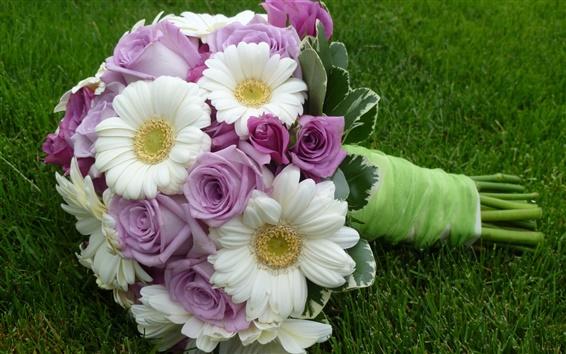 Обои Гербера розовые розы букет