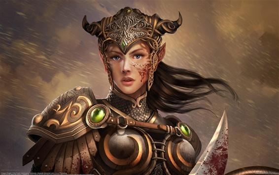 Wallpaper Girl elf knight warrior armor