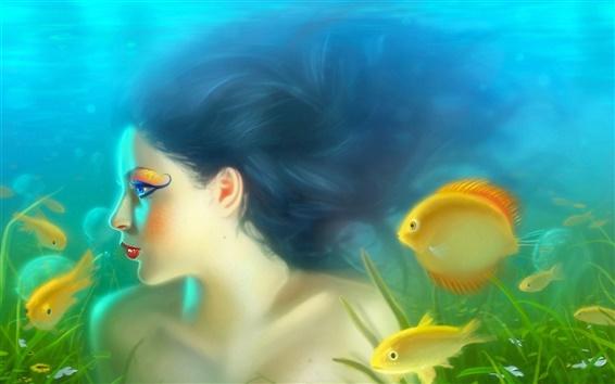 Обои Девушка русалка с рыбой