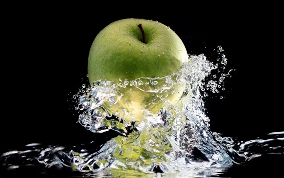Wallpaper Green apple water splash