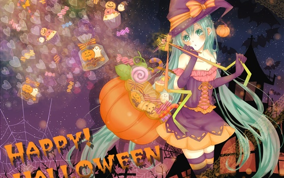 Wallpaper Halloween anime girl