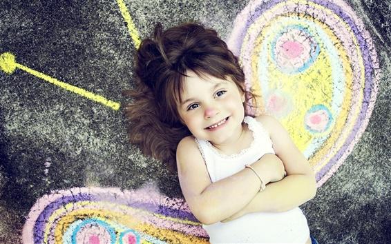 Wallpaper Happy girl smiling butterfly