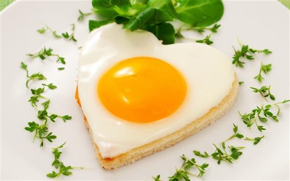 Wallpaper Heart-shaped egg pastry breakfast