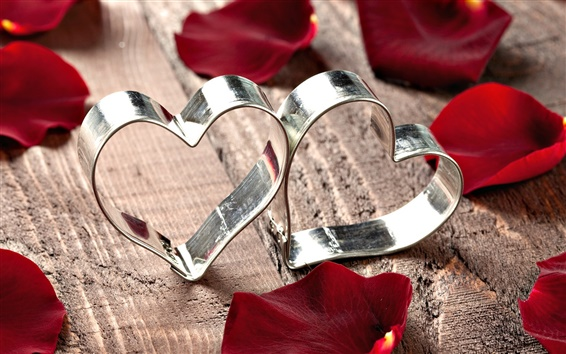 Wallpaper Heart-shaped metal ring