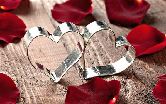 壁纸 心形金属环