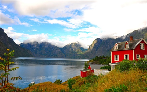 Fond d'écran Accueil maison du lac et le ciel bleu