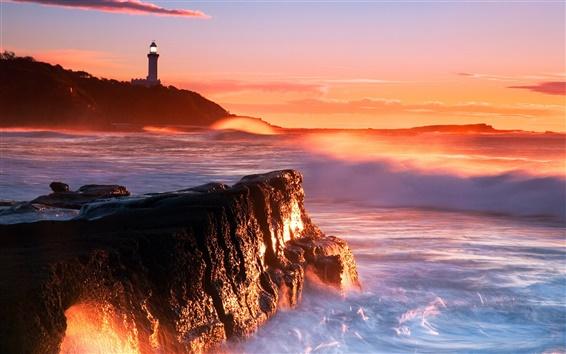 Papéis de Parede Farol mar ondas rochas penhascos do por do sol