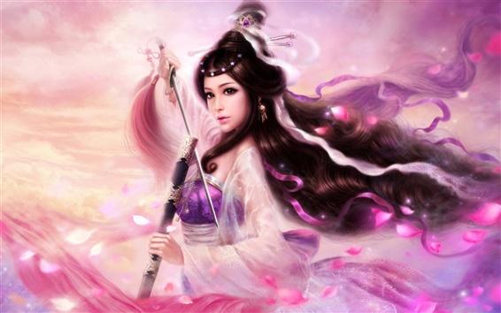壁紙 長い髪の少女紫の剣