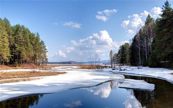 壁紙 自然の風景雪の冬の湖の水