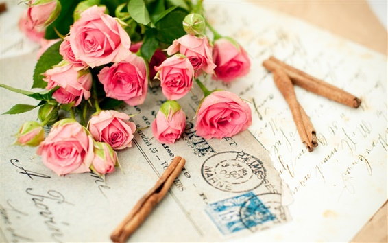 Wallpaper Pink roses and a letter