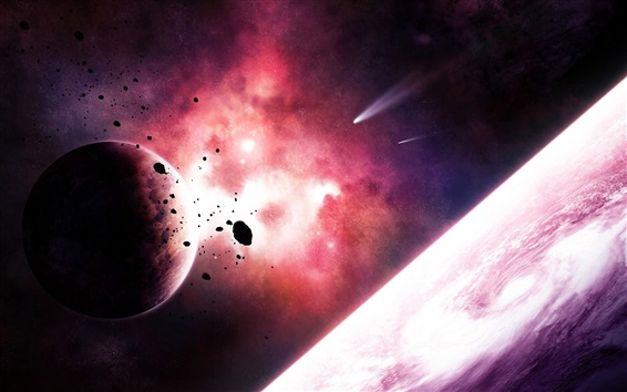 Planets and comets in space purple nebula Wallpaper Preview