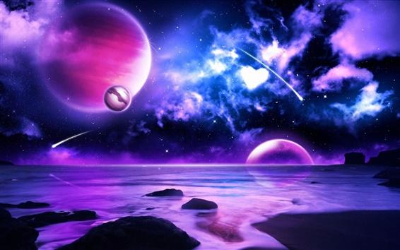 Wallpaper Purple planet meteors in space